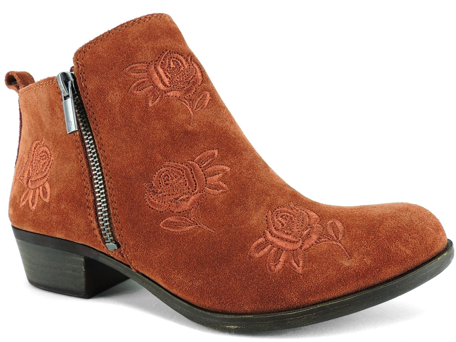 Lucky Brand Women's Basel5 Booties Red Oak Oiled Suede Size 8 M