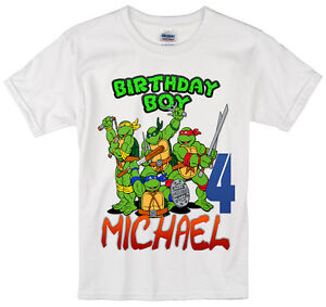Image Is Loading TMNT Ninja Turtles Birthday Shirt Personalized Custom Name