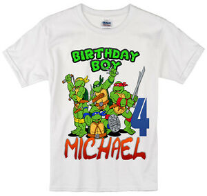 878c67cbfc55e Details about TMNT Ninja Turtles birthday shirt Personalized Custom Name  Age Kids T-Shirt t2