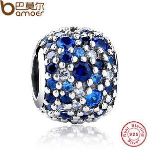 Shine Authentique S925 Argent Sterling Mixte Bleu Cz Charms Fit P Bracelets Chaîne-afficher Le Titre D'origine Prix De Vente