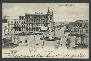 Montevideo-Uruguay-c-1906-Postcard-PLAZA-LIBERTAD-Mailed-to-USA
