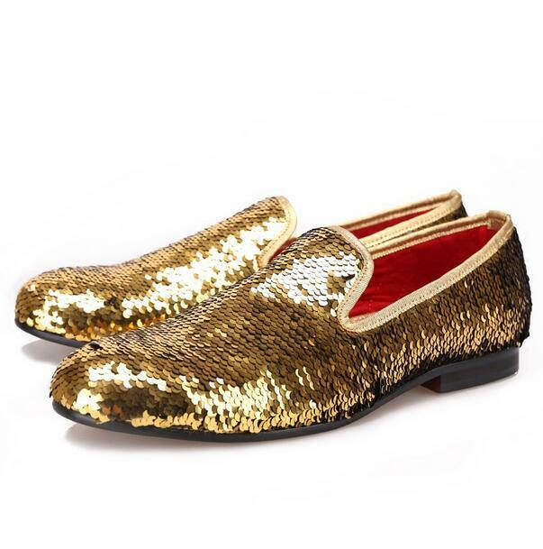 Uomo sequins slip on loafers genuine leather dress formal casual Scarpe casual formal luxury f7d99f