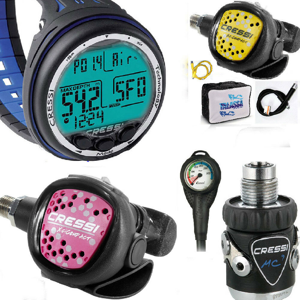 LO3 31 Cressi Regulator MC9 DIN300 compact PINK + COMPUTER CRESSI GIOTTO blue