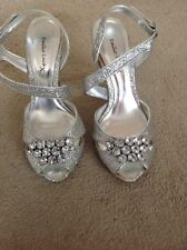 "NEW Silver Heavily Beaded Shoes With 4"" Stiletto Heels Size 5 By EMILIO LUCA"