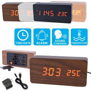 New-Voice-Control-Modern-Wooden-Digital-LED-Alarm-Clock-Calendar-Thermometer-AU