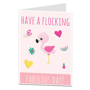 Image Is Loading Flamingo Birthday Card For Her Cute Pink Best