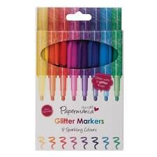 8 x Glitter Sparkle Bullet Tip Marker Pens Bright Rainbow Colours (Papermania)