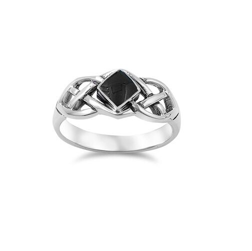 Celtic Weave Black Onyx Stone .925 Sterling Silver Ring Sizes 5-11