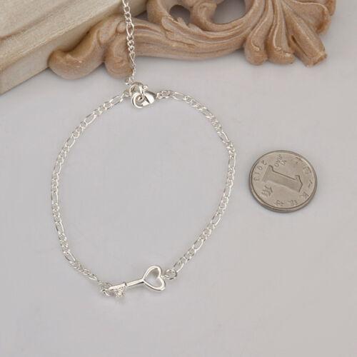 Argent Sterling 925 Bijoux Zircon Coeur Creux Clé Femmes Bracelet Bracelet AAY024