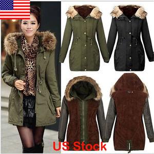 Women Warm Winter Parka Long Coat Fur Hoodie Slim Fleece Quilted ...