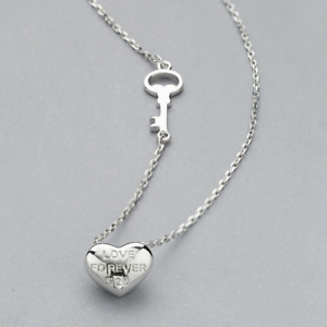 Real-925-Sterling-Silver-String-Love-Pendant-Necklace-Chain-SOLID-SILVER-Jewelry