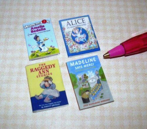 Miniature Children's Books (4) SET #11: DOLLHOUSE Miniatures 1:12 Scale