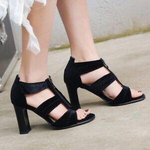 3b9ee8501046 Chic Women Suede Block High Heel Sandals Casual Zip Peep Toe Shoes ...