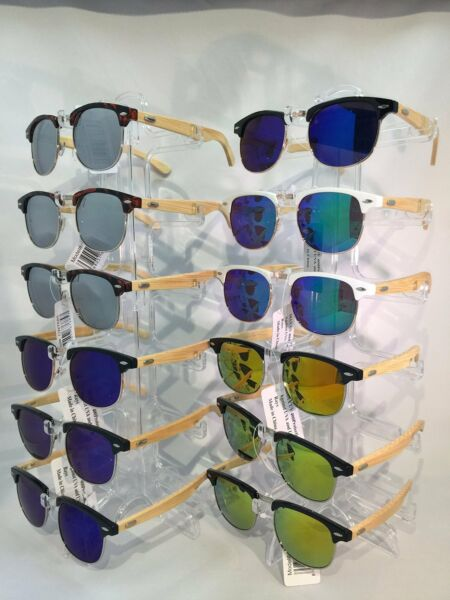 6c0ee3eb03  CW7685 Real Bamboo Leg Club-master Mirrored Lens Sunglasses Wholesale 12  pair