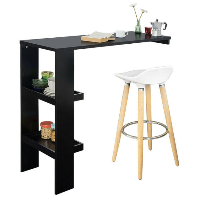 SoBuy Wall Kitchen Breakfast Dining  Bar Table with Side Rack Black FWT55-SCH,UK