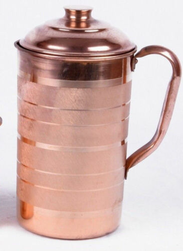 100% Pure 1 Ltr Copper Water Jug Pitcher New Copper Indian Ayurveda Product UK0e