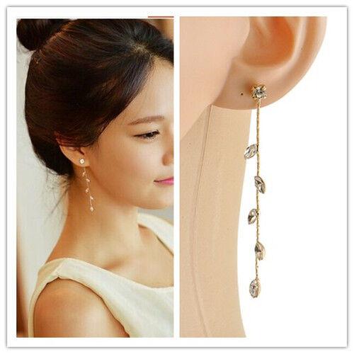 lady Long Tassel Dangle Crystal Rhinestone leaves Shiny Linear Stud Gold Earring