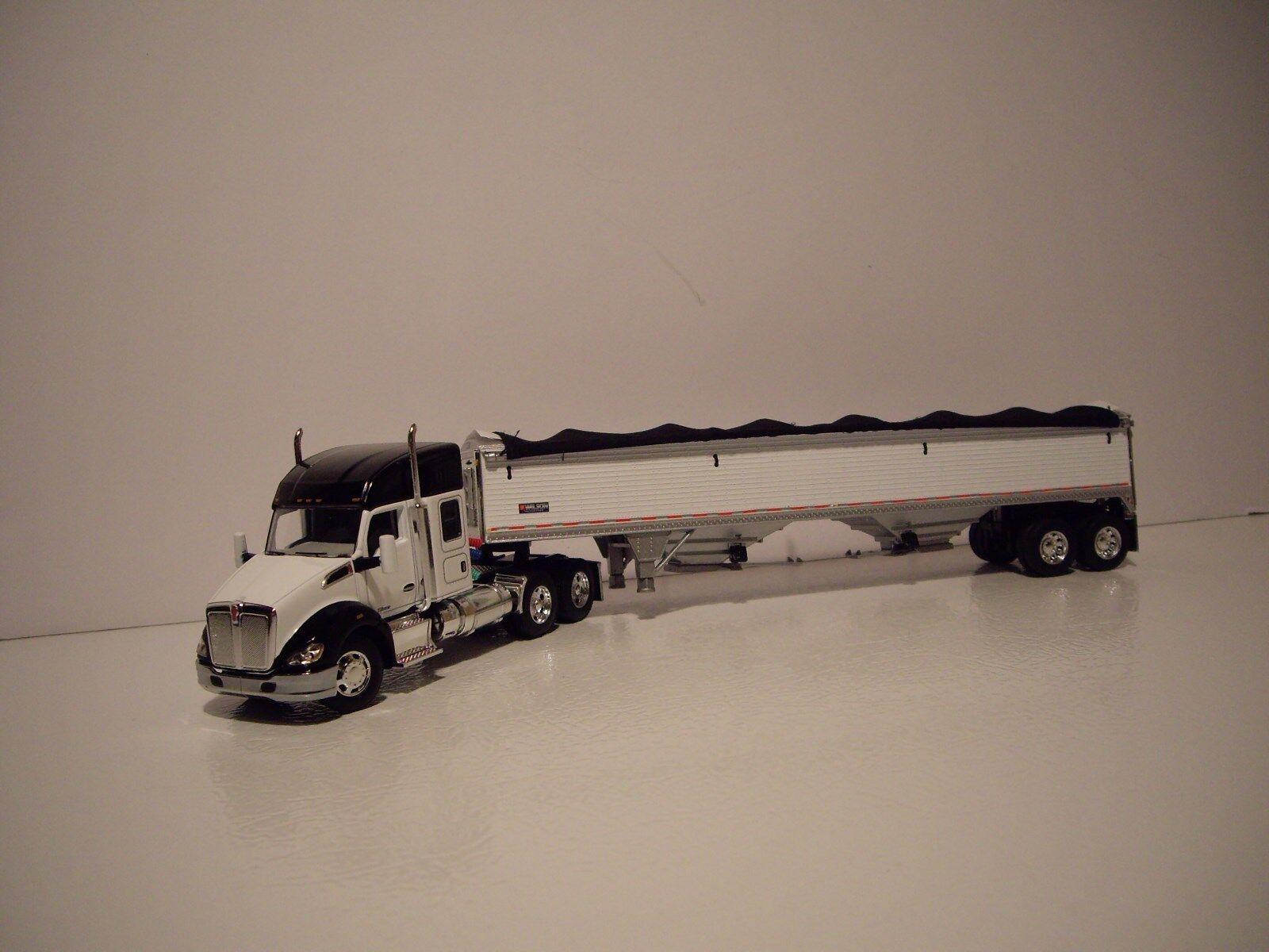 DCP 1 64 biancao y nero Kenworth T680 con remolque de grano 52  durmiente y Wilson