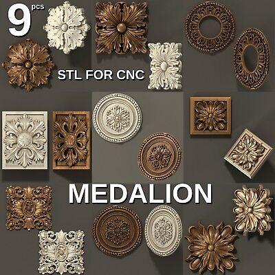 3d stl Model 9 pcs pack for CNC Router Artcam Cut3d Aspire medalion