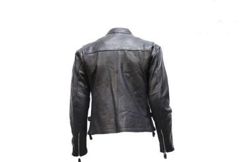 Solide Veste Route Moto Hommes Noir Véritable Cuir Vachette FAqFrS