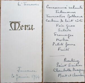 Menu 1944 French Handwritten W Wine List Gold Embossed Cover Ebay