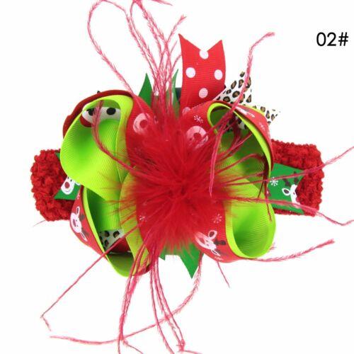 Baby Girl Christmas Bow-knot Feather Hairpin Headdress Party Headband Hair Band