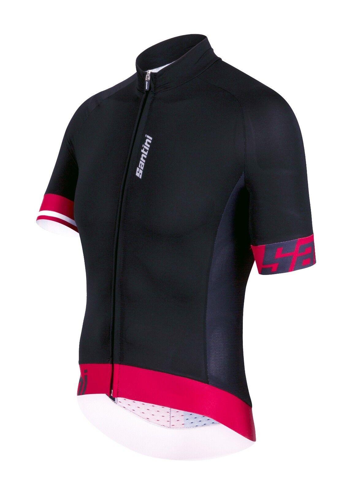 Men's Sleek  2.0 Aero Ciclismo Camiseta en Negro Rojo. hechos en Italia por Santini  las mejores marcas venden barato