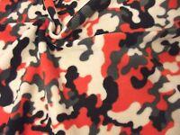 QUALITY CAMOUFLAGE Printed Anti Pil Polar Fleece Fabric Material - ORANGE