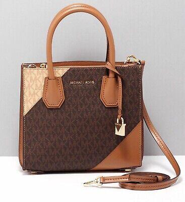 Michael Kors Bag Mercer Md Accordion Crossbody Bag Braun Multi New | eBay