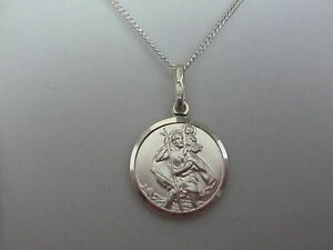 66e12b58e0a8 Nuevo Cadena en Plata de Ley 45.7cm And Santo San Cristóbal Medalla ...