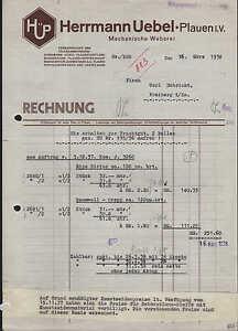 plauen i v rechnung 1938 mechanische weberei herrmann. Black Bedroom Furniture Sets. Home Design Ideas