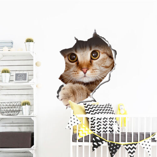 Removable 3D Cat/&Dog Toilet Dining Room Wall Sticker Decal Vinyl Mural Orna PS