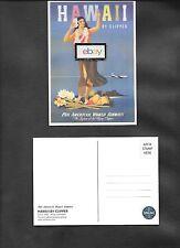 PAN AM HAWAII BY STRATOCRUISER CLIPPER REPRO 1950 HULA GIRL POSTCARD