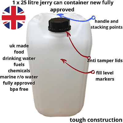 20 and 25 litre new plastic bottle jerry can water container carrier approved