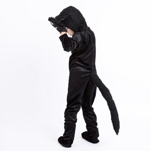 Kids Animal Black Cat Pajamas Jumpsuit Cosplay Costume Halloween Fleece Suit
