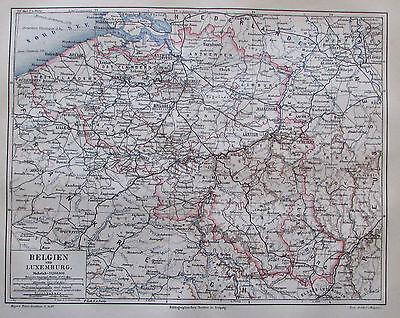 1885 Belgien Und Luxemburg Alte Landkarte Antique Map Lithografie