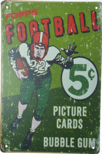 """TOPPS Football Picture Cards Gum Wrapper 5 Cent Retro Metal Tin Sign 8x12/"""" NEW"""