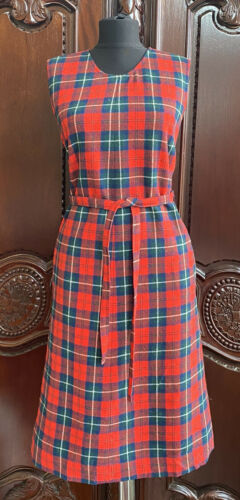 80s Jumper Dress Sz 12 L 100/% Wool Red Black Plaid Schoolgirl Button Down Shift  Free US Shipping