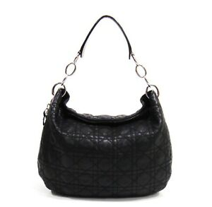 feee805e8e84  1200 Christian Dior Black Lady Dior Cannage Quilted Lambskin Hobo ...