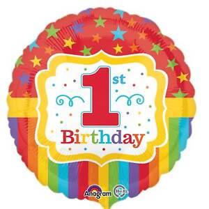 New Rainbow 1st Birthday Standard Foil Balloons S40
