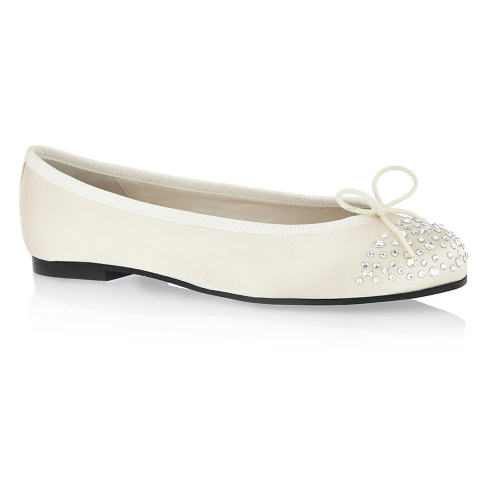 Brand New Authentic French Sole Henrietta Ivory Ivory Ivory Satin with Crystals EU 37 e9191a