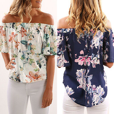 US Fashion Womens Floral Casual Blouse Short Shoulder Ladies Loose T Shirt Tops