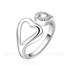 DIAMANTE HEART WRAP RING in Sterling Silver Plate, ADJUSTABLE Thumb Crystal Gift