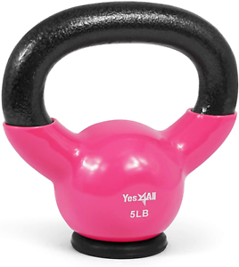 Yes4All Vinyl Coated Kettlebells With Protective Rubber Base – Weight Available: