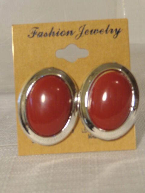 CLIP-ON EARRINGS OVAL CLUSTER SILVER RIMMED ASSORTED COLORS 1.25 INCH