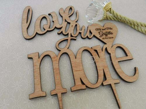 /'/'Love You More/'/' Weddings Engagement Wooden Cake Topper Anniversary