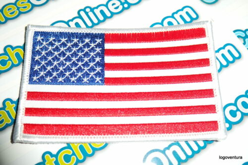 """USA American Flag Embroidered Iron On Patch 2.5x4/"""" White Border Applique"""