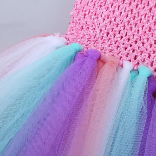 Toddler Girls Fairy Rainbow Tutu Dress Kids Cosplay Birthday Party Fancy Costume
