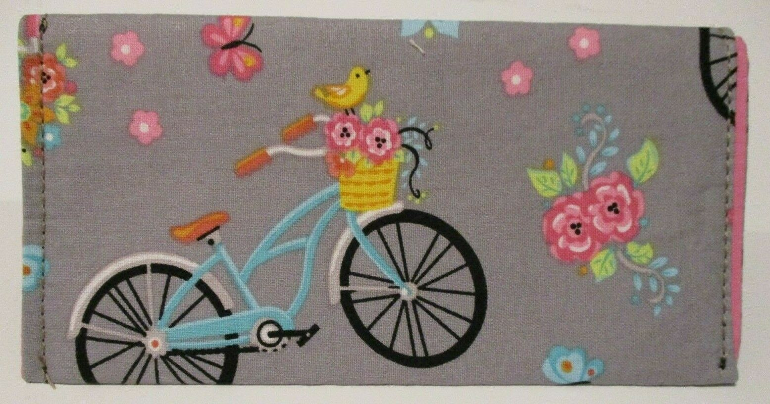 CHECK BOOK COVER NOTE HOLDER BICYCLES BIKES CLOTH HANDMADE NEW