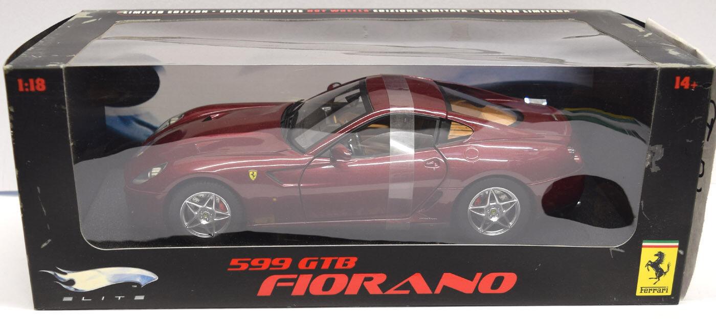 Hot Wheels Ferrari 599 GTB Fiorano, Foncé Métallisé Rouge (M1200)